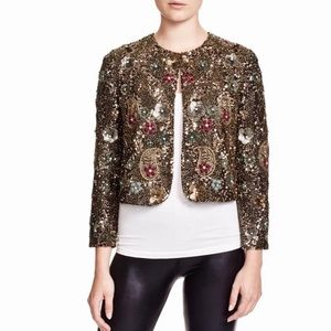 NWOT Alice + Olivia Black Sequin Cropped Jacket